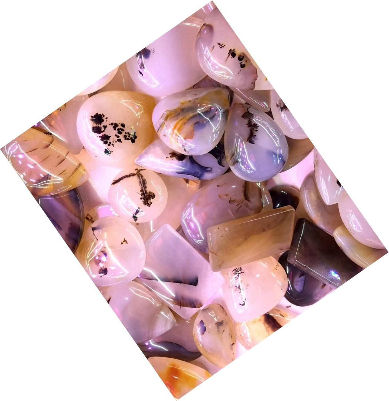 Cherry Blossom Agate Pear Cherry Blossom Agate Flower Agate cabochon loose gemstone