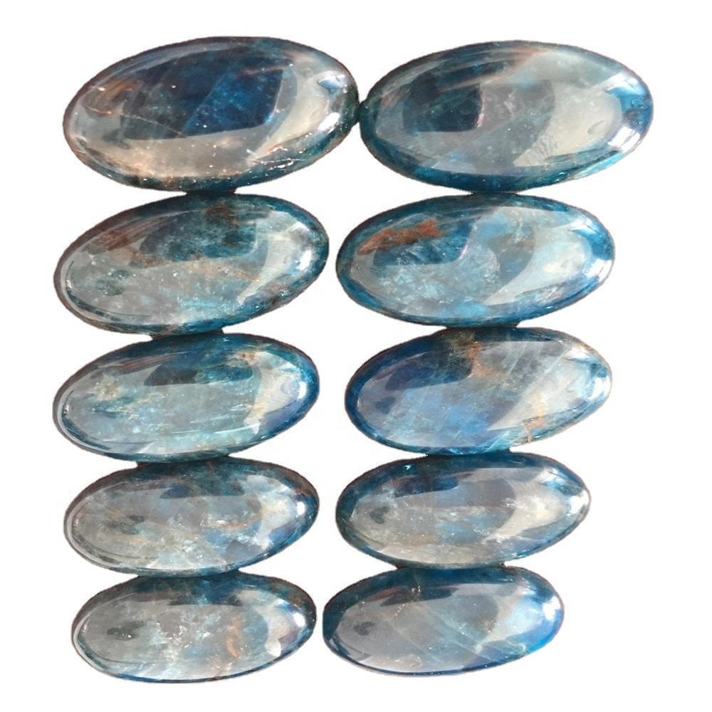 Flashy Natural Blue Apatite Cabochon Top Quality Apatite Gemstone Semi Precious Hand Polish Loose Stone For Jewelry