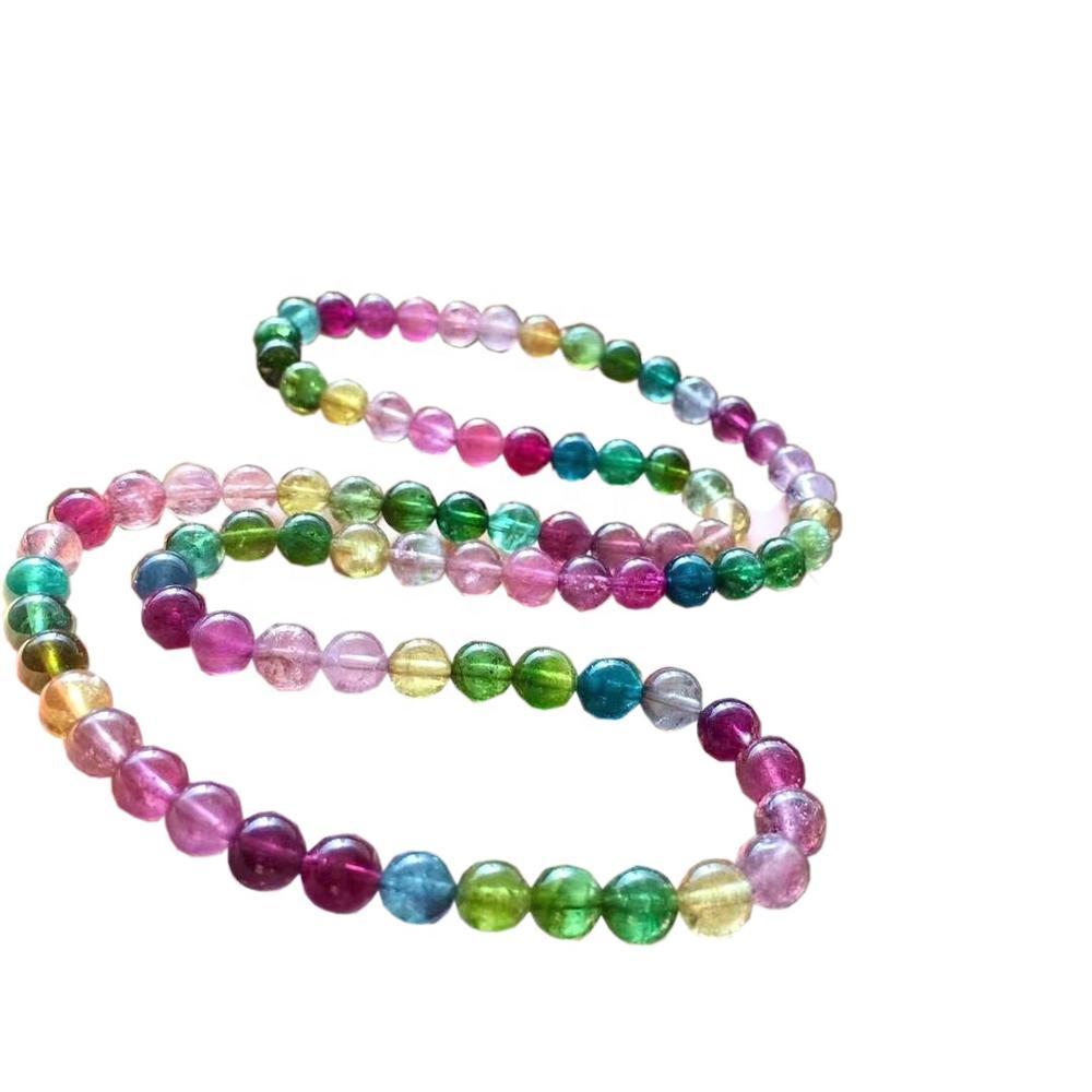 Natural Multi Color Tourmaline Gemstone Pink Grade 3A 4mm-12mm Round Loose gemstone Beads Full Strand