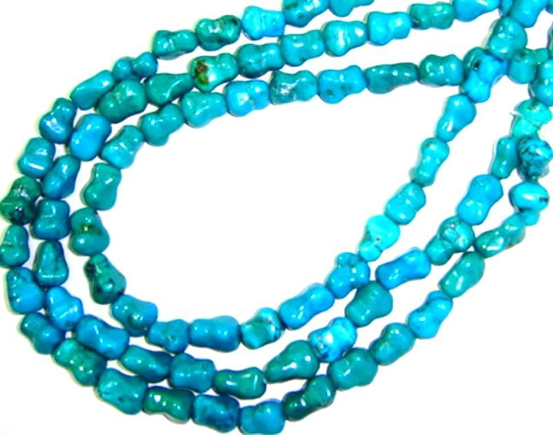 Natural Turquoise Dog Bone Beads