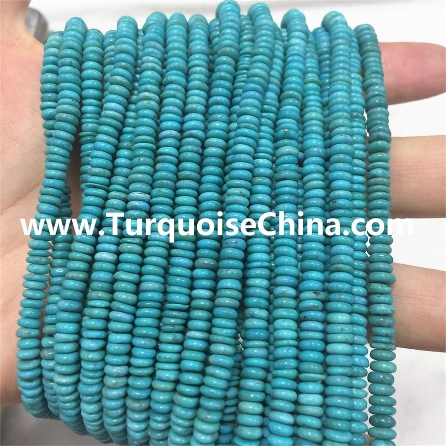 Natural Blue Turquoise Plain Rondelle beads Natural Turquoise Abacus Beads