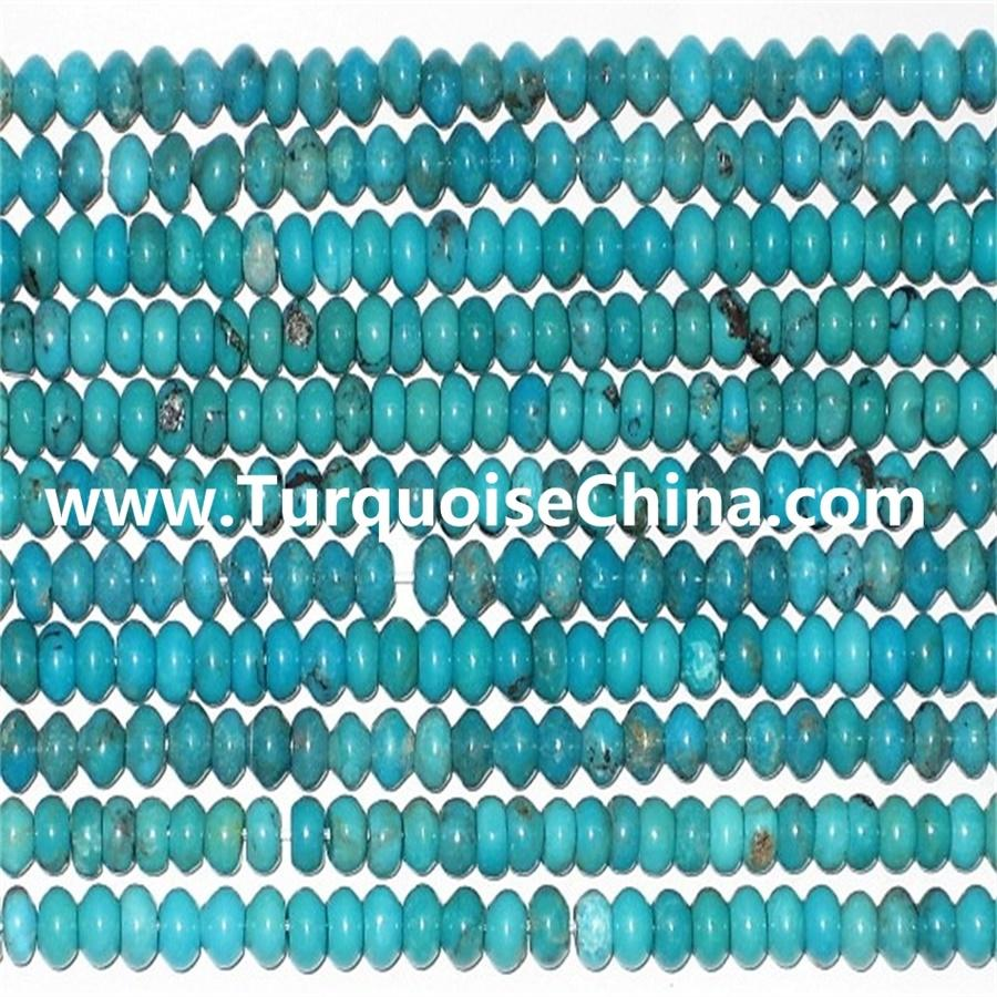 Cheap costume naturally turquoise Rondelle beads jewelry wholesale