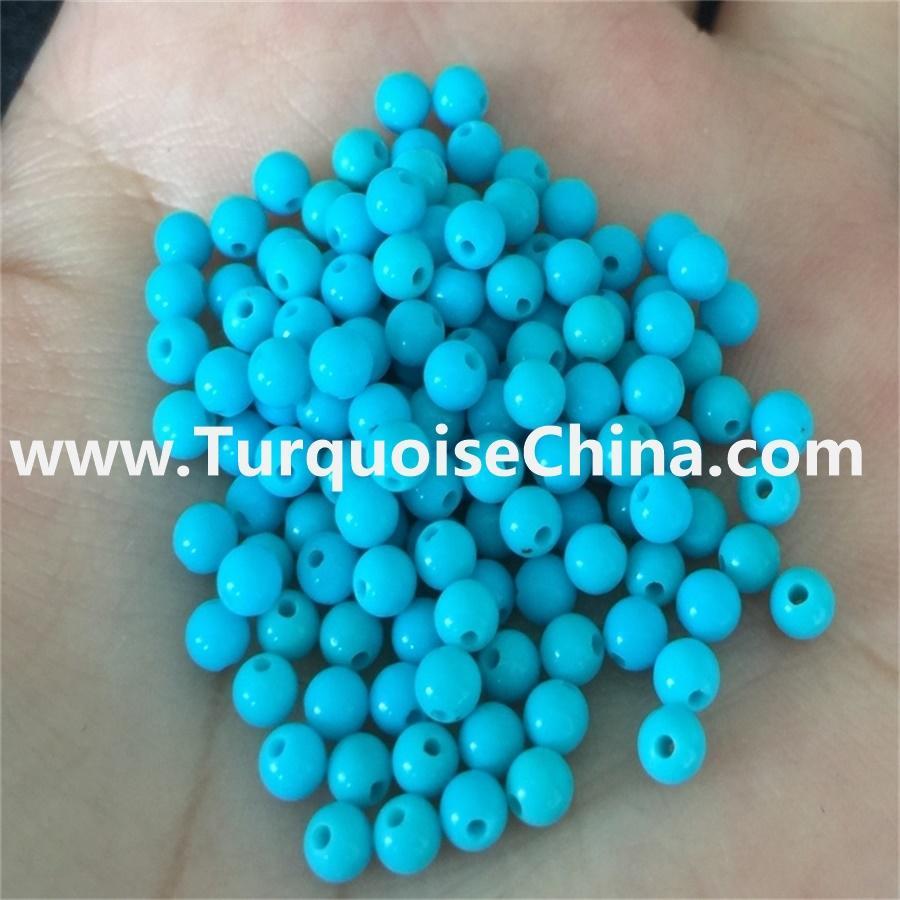 Wholesale 4-14mm Blue smooth shiny mirror polish Turquoise Round Beads jewelry