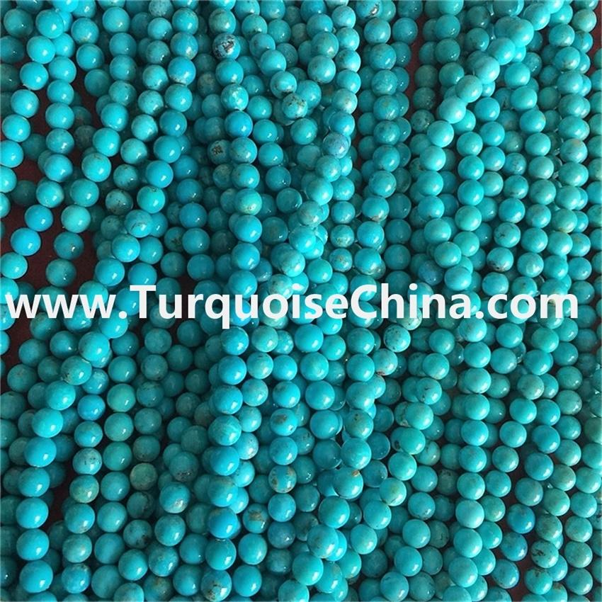 Clean and bright natual dark blue turquoise round beads wholesale price