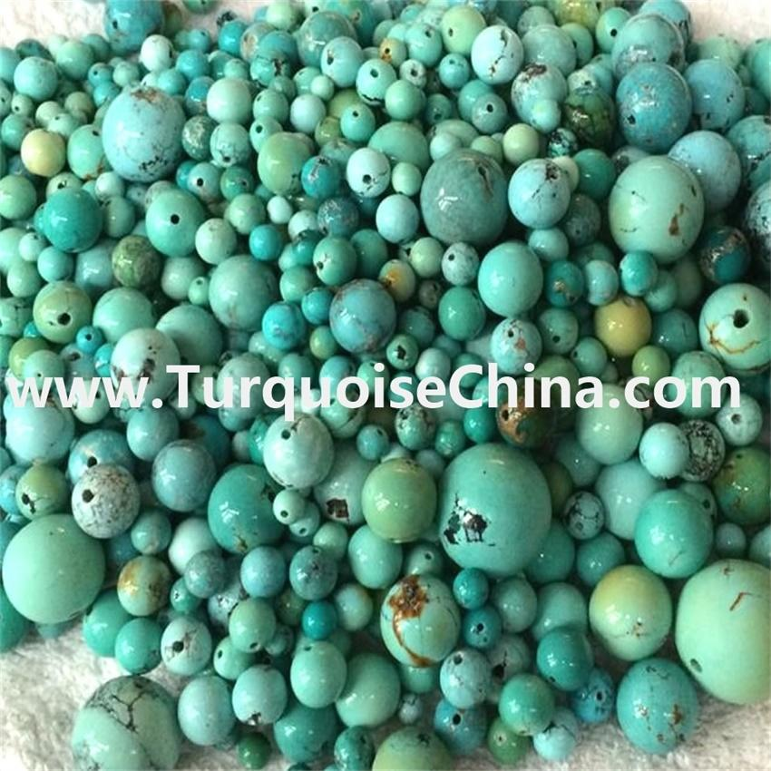 Round Shape Real Natural Stone Chinese Turquoise Beads jewelry