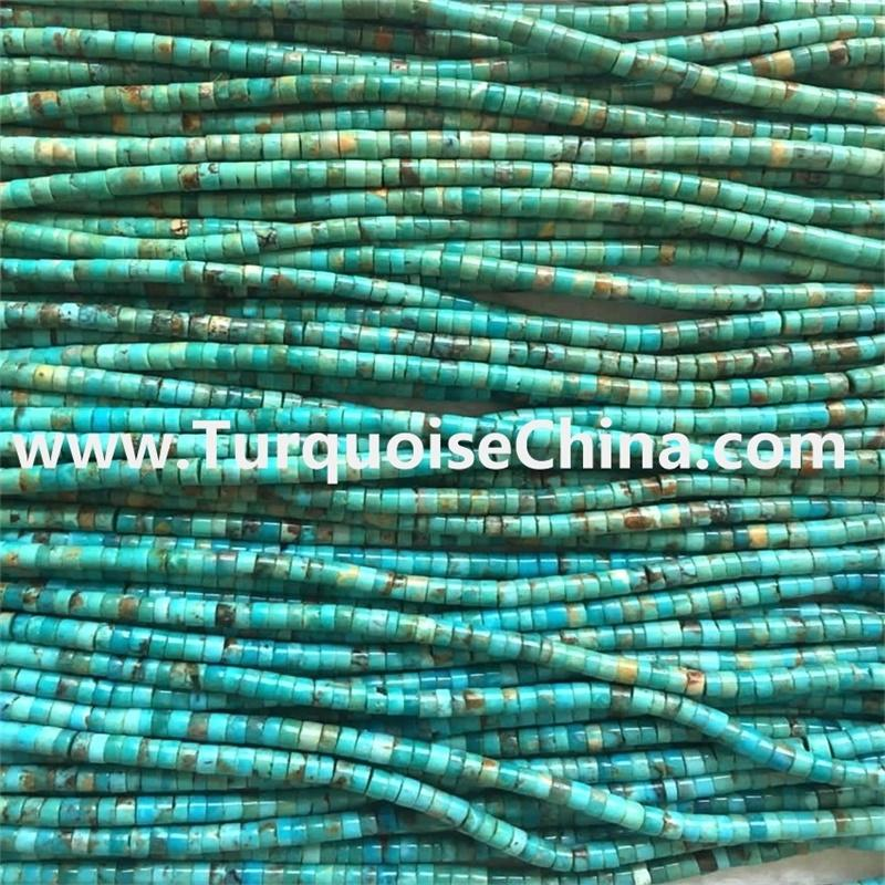 100% natural turquoise Heishi Kingman Boulder Turquoise Beads 18 Inch Strand