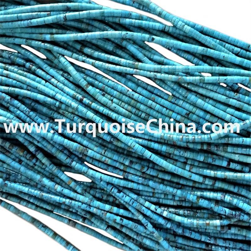 Blue Genuine Natural American Turquoise 3-8mm Graduated Heishi Beads