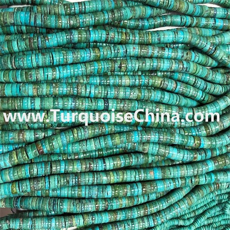 Semi-precious bead types turquoise heishi beads handmade cut each piece