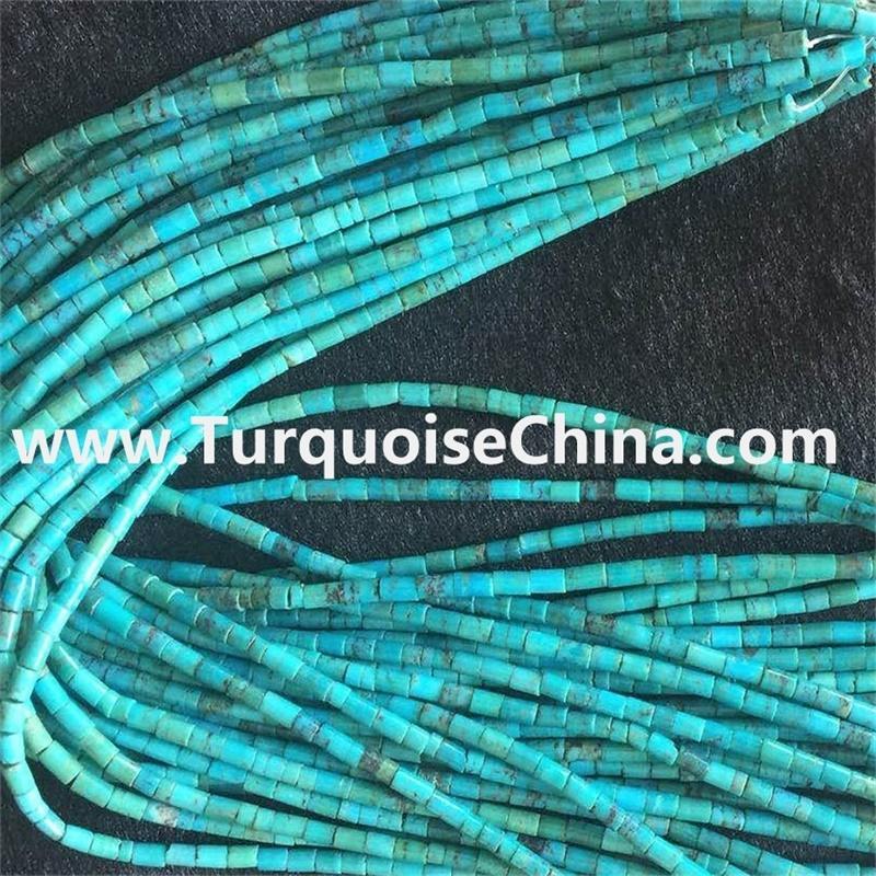 Kingman Turquoise Boulder, 3mm turquoise Heishi beads strand,Arizona turquoise
