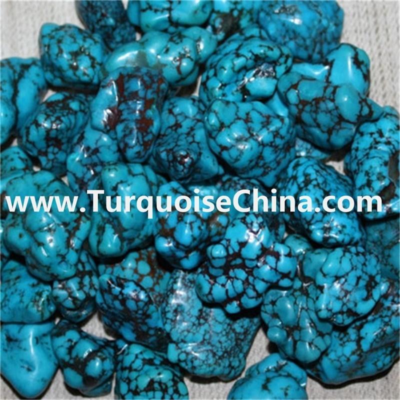 Genuine Spiderweb Hubei naturally Turquoise nugget Beads