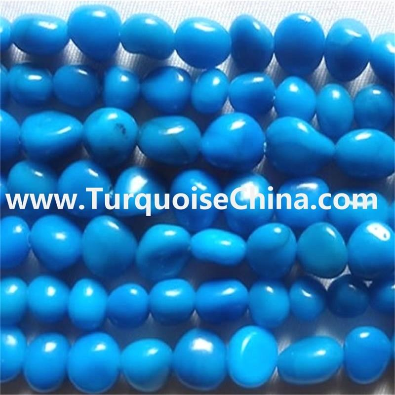 Natural Blue Sleeping Beauty Turquoise Nugget/Lava Beads