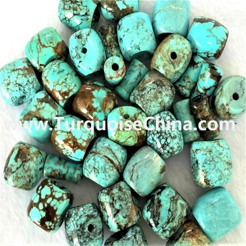 Genuine 100% Natural Blue Green Turquoise Beads Cylinder Rounded Tube Drum Barrel