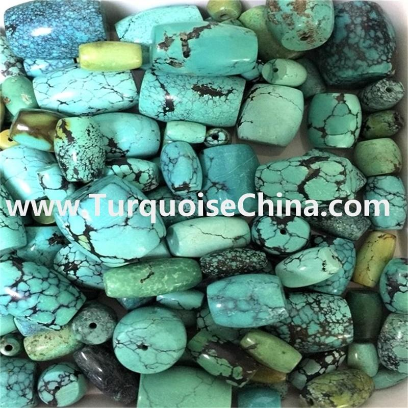 Natural Kingman Turquoise drum beads mixture size / Rustic Turquoise gemstone beads / Blue Green Raw Turquoise Beads