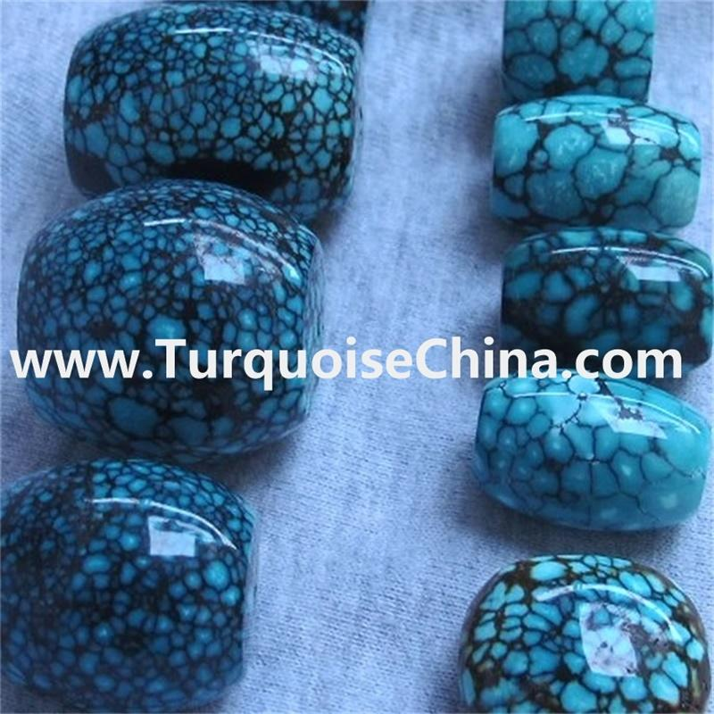 Natural HuBei turquoise rough cut out the Blue Antique Spiderweb Turquoise drum beads