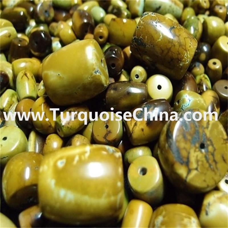 100% naturally genuine Apple Green Turquoise drum Beads