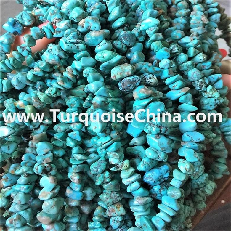 Natural small turquoise chips natural turquoise, full strand
