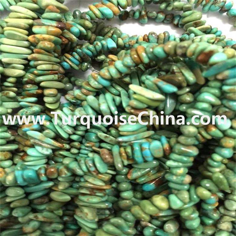 """34""""Inch Turquoise Chip Beads Strand Natural Blue Turquoise Pebble Beads"""