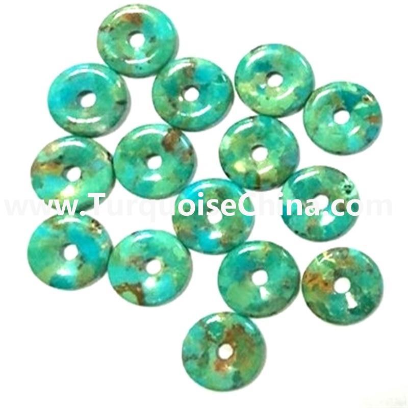 Large Stone naturally turquoise Donut Pendant Beads