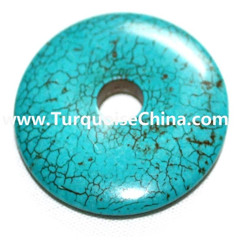 Turquoise Donuts beads Genuine Natural Blue Donut Pendant Bead 10mm -50mm