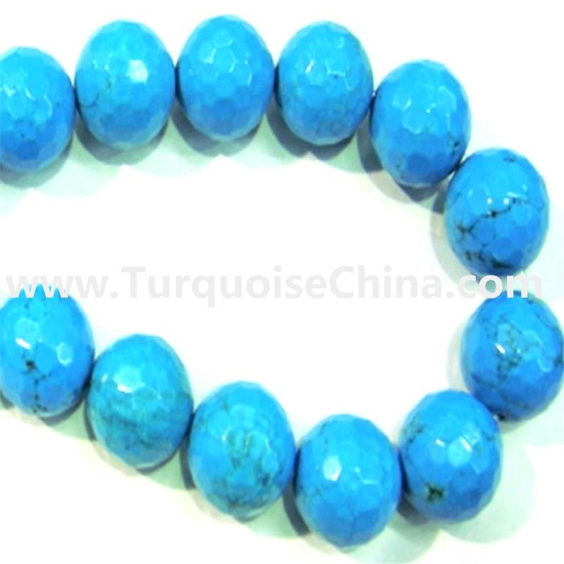 Turquoise Faceted Round Natural Semi Precious Gemstone Beads
