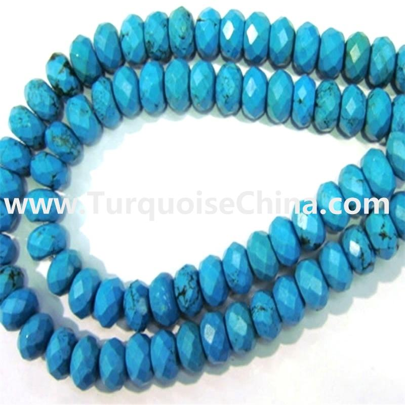 Turquoise Faceted Rondelle Beads,Turquoise Faceted Abacus Beads