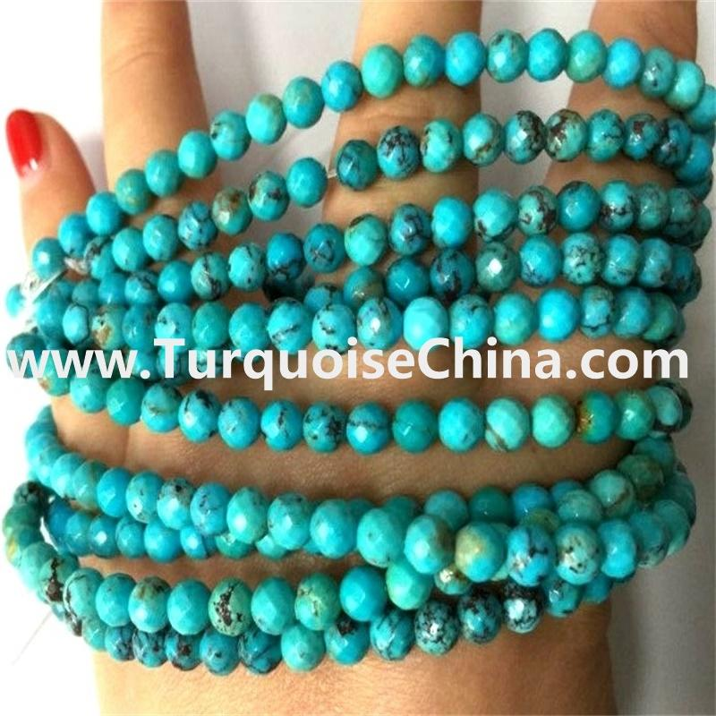Turquoise Natural Round Faceted Gemstone Beads Various Sizes