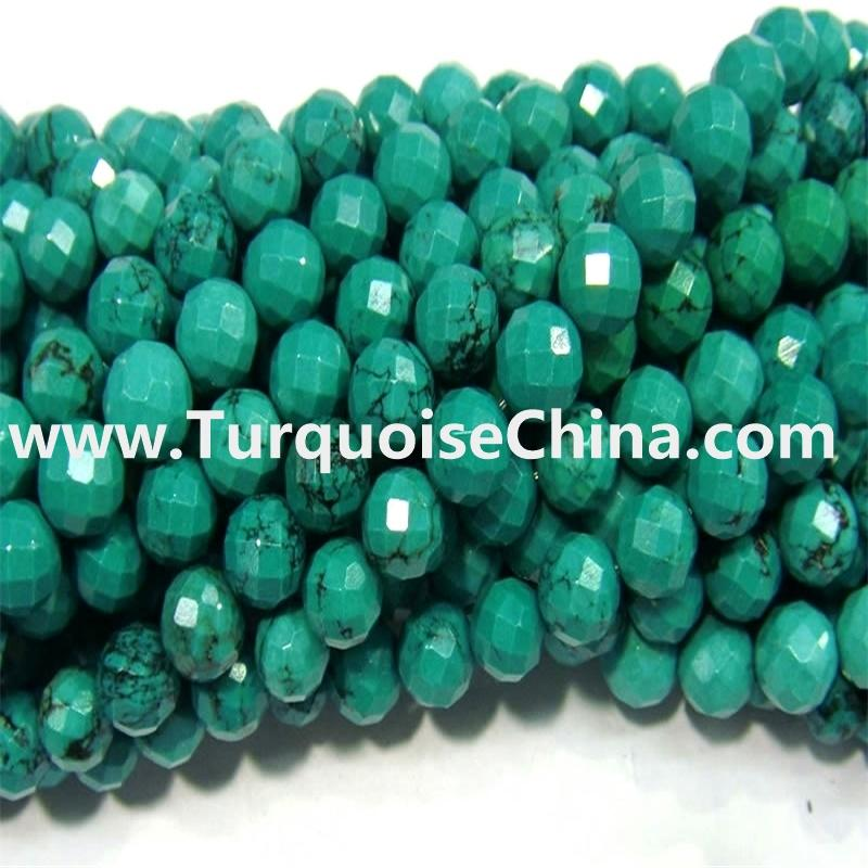 Natural Turquoise Hubei Turquoise Faceted Abacus Beads Strands