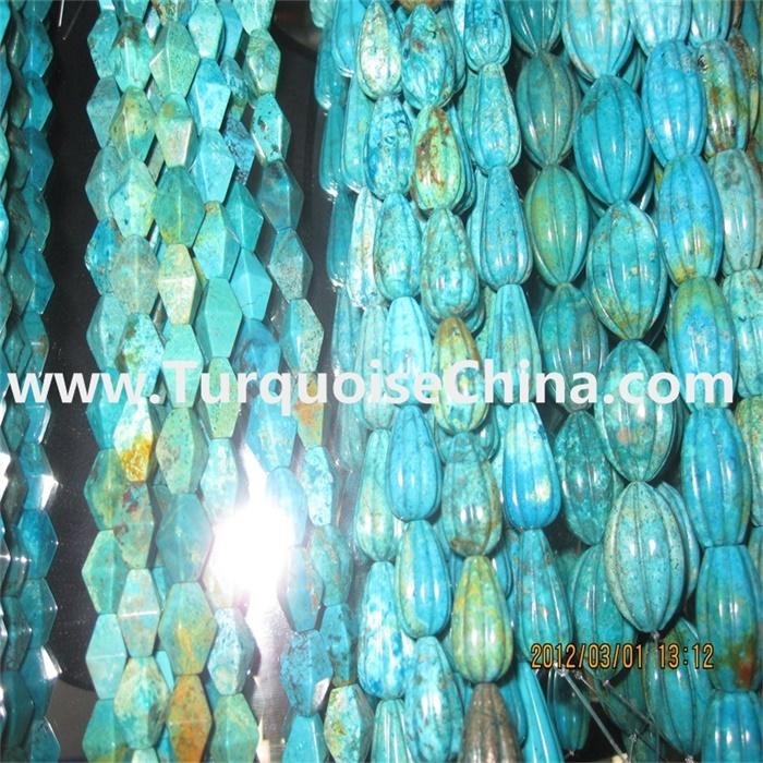 Natural Turquoise Faceted Pumpkin Beads Necklace, Aaa+ Quality