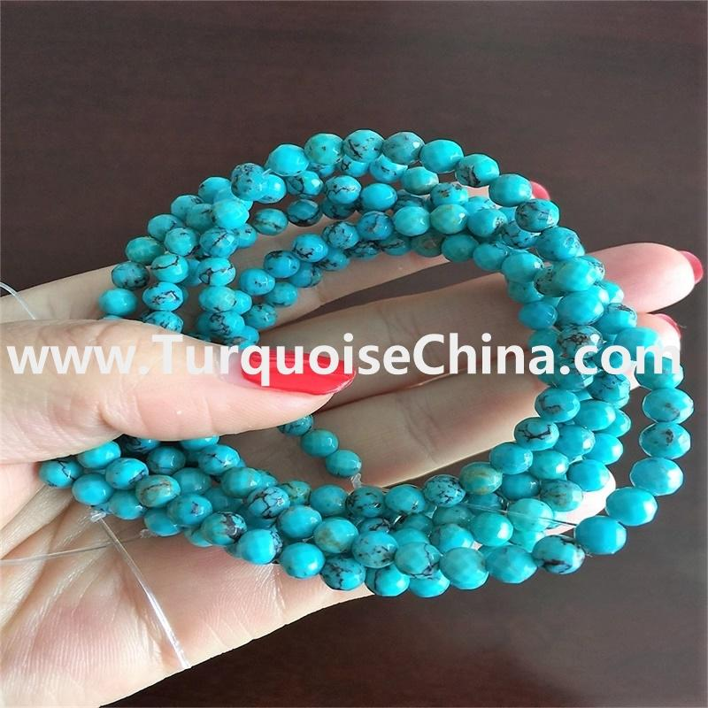 Genuine Round Arizona Sleeping Beauty Turquoise Faceted Beads