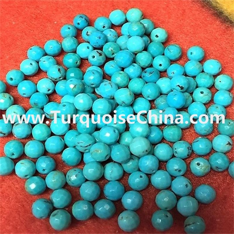 Stabilized Faceted Round Loose Gemstone Bead Sleeping Beauty 4-12mm