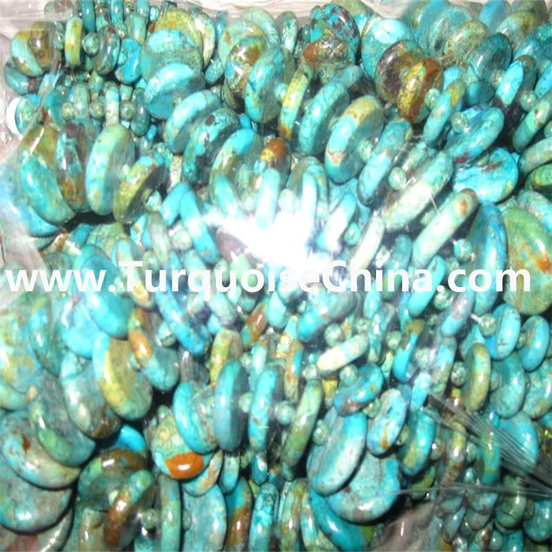 Gemstone Kingman Turquoise Beads Graduated Button Coin Beads