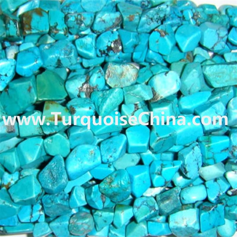 Genuine Natural Gemstone Turquoise Pillow Beads Jewelry   15 inch strand