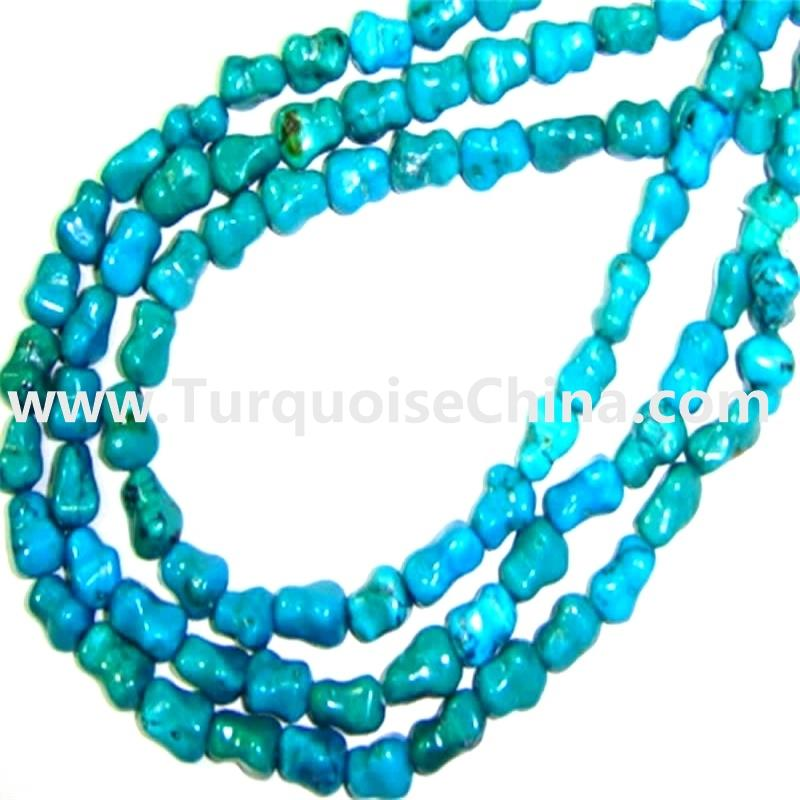 Naturally Genuine Turquoise Dogbone Beads Necklace   16 inch per string