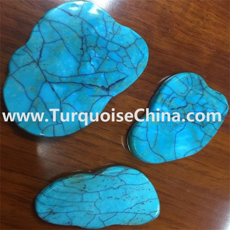 Blue Aqua Turquoise Slice Beads Free Form Loose Beads Supplies  15.5