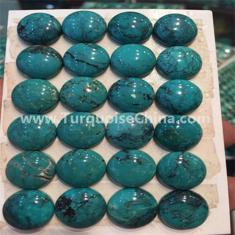 Natural Extra Fine Chinese spiderweb Turquoise Oval Cabochon