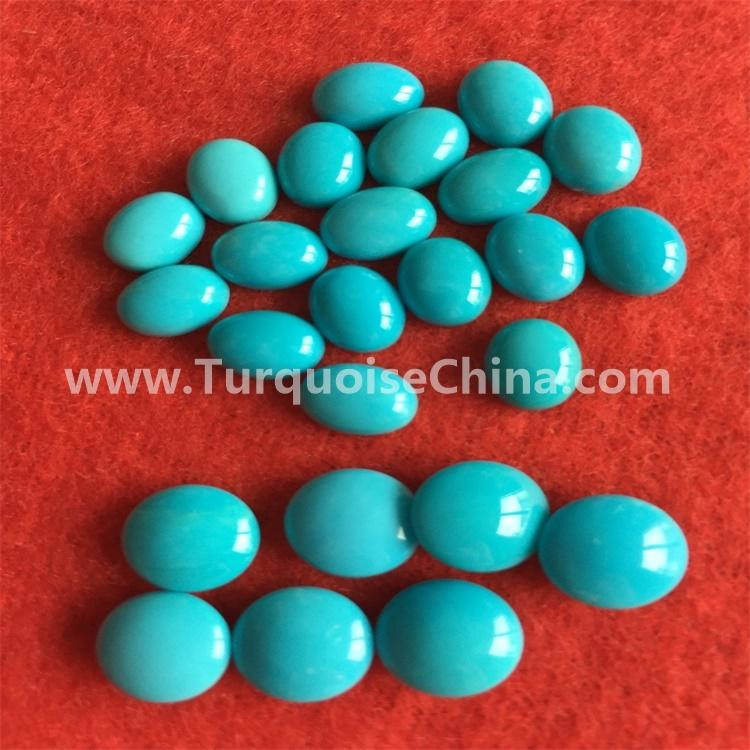 naturally genuine Turquoise, Oval Cabochon 6x4mm Stabilised