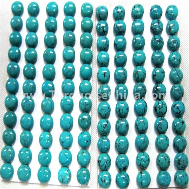 8x10mm Natural Sleeping Beauty Turquoise Smooth Oval Cabochon