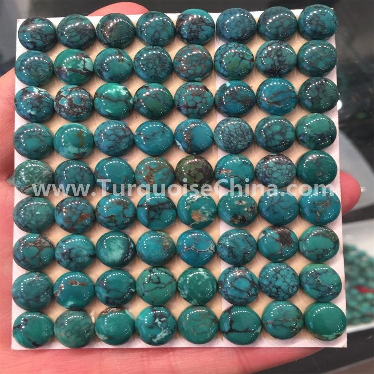 natural spider web greenish oval shape turquoise cabochon jewelry