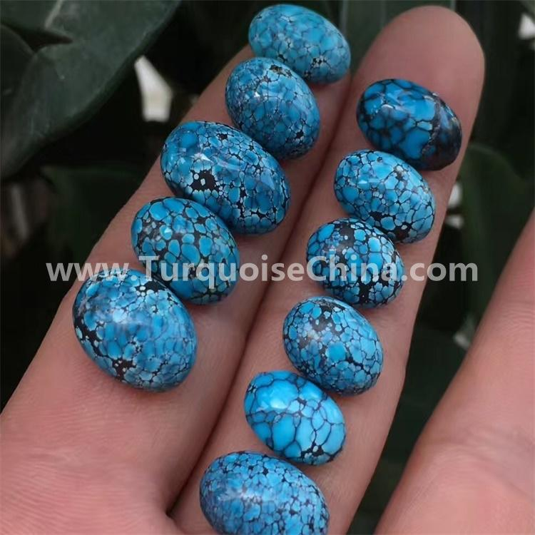 natural top quality genuine spider-web oval shape cabochons turquoise semi precious jewelry