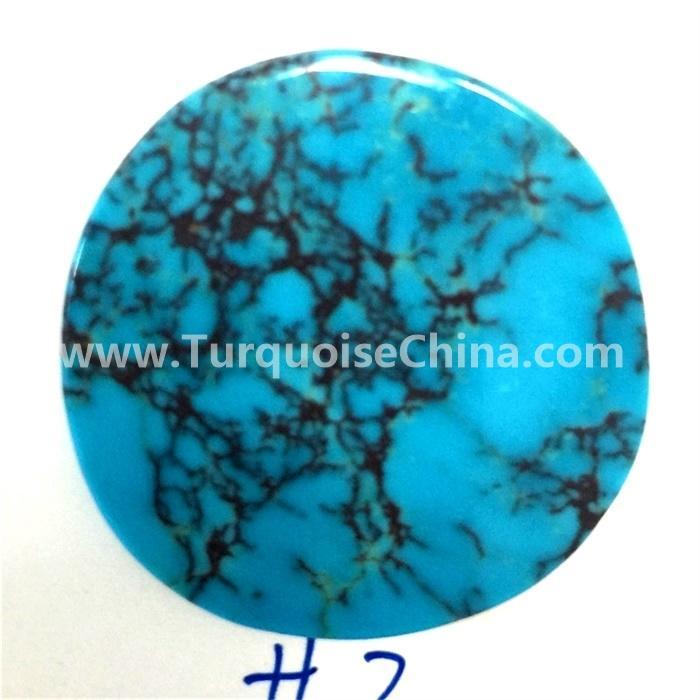 Genuine Blue Arizona Turquoise Round Shape Cabochon Loose Gemstone