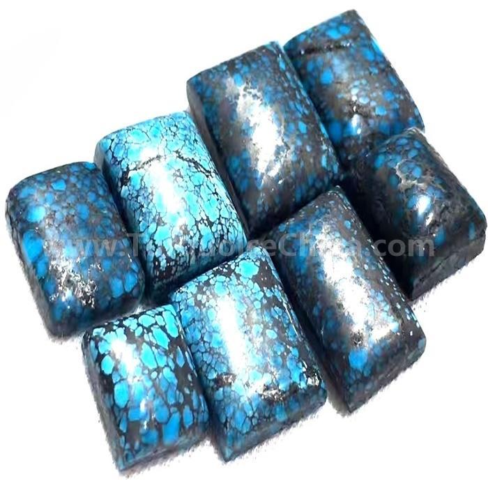 Natural Spiderweb dark top Blue Turquoise Gemstone Cabochon