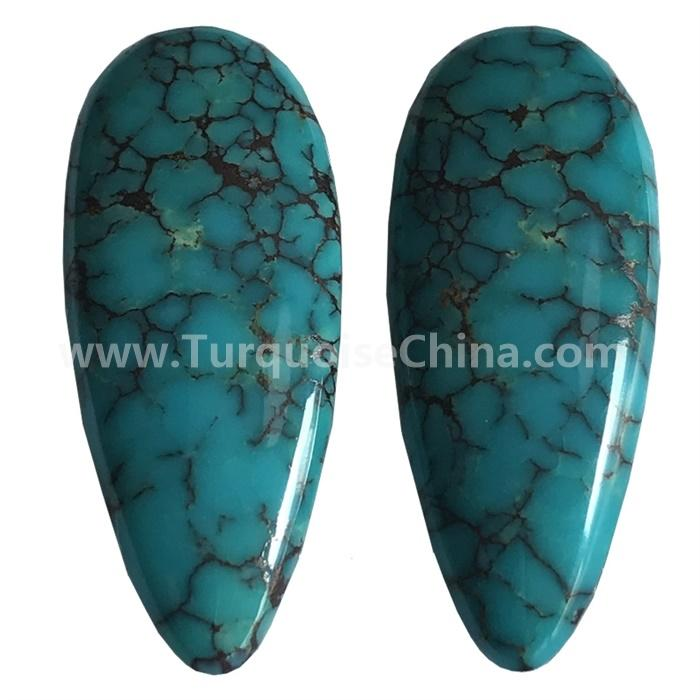 Natural Tibet Turquoise Pear Pair Cabochon Loose Gemstone