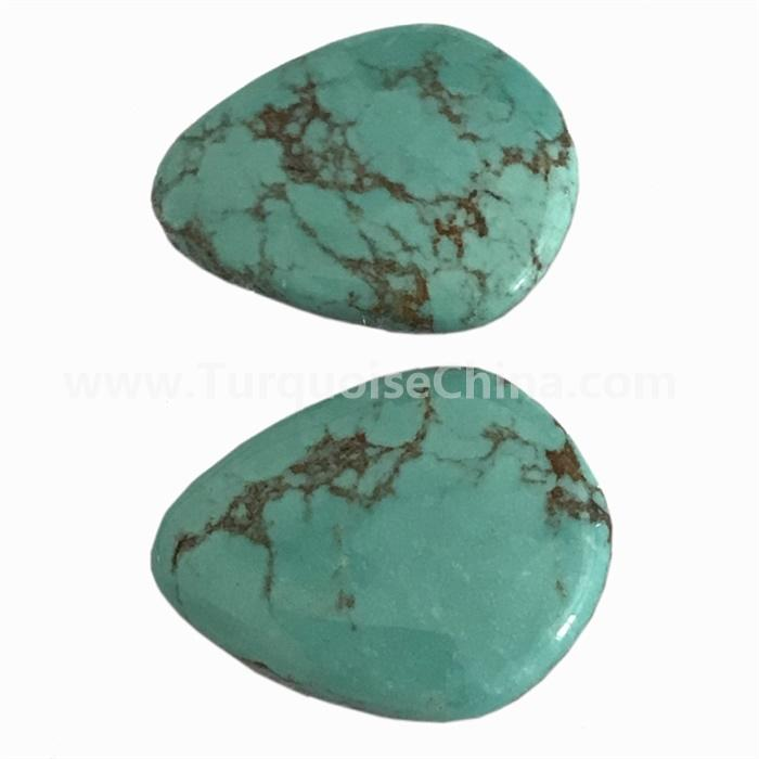 100% Natural Tibetan Turquoise Pear Cabochon Loose Gemstone turquoise pairs cabochons