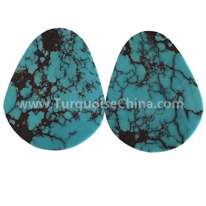 Naturally match pairs turquoise Arizona Kingman Turquoise Pyriform Cabochons Turquoise pear cabochons