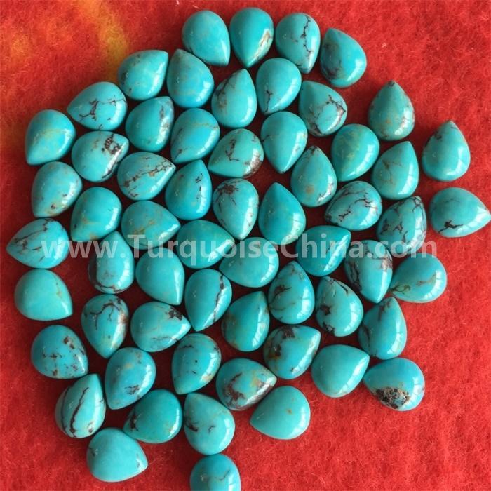Natural Designer Arizona Turquoise Pear Cabochon Royal Loose Gemstone