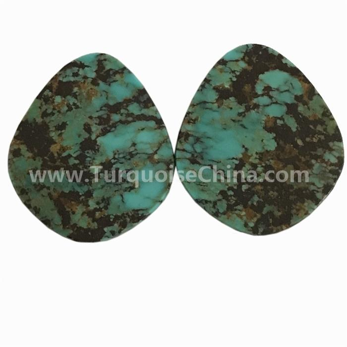 Natural Chinese Hubei  turquoise Spiderweb Pear Cabochons match pairs for making gemstone jewelry