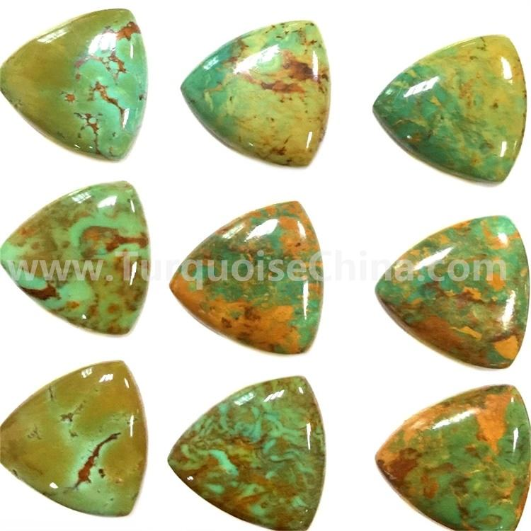 Natural green yellow turquoise Triangle Cabochons gemstone jewelry