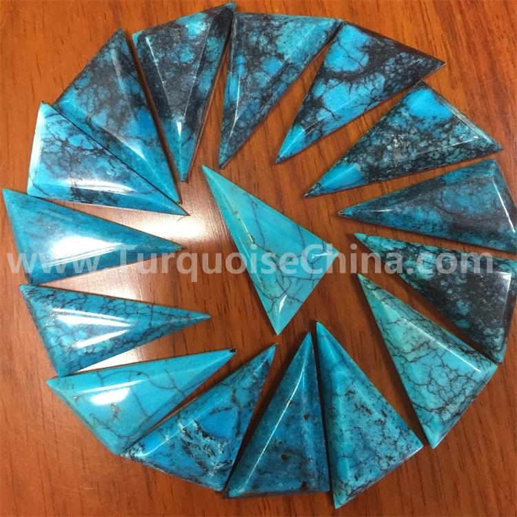 Turquoise Trapezoid Mountain stabilized hand-cut turquoise cabochon