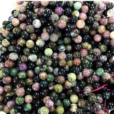 Natural tourmaline mixed color round shape beads gemstone strings