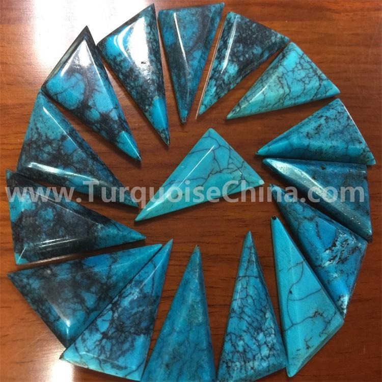 Geometric Turquoise Cabochon Kingman stabilized turquoise
